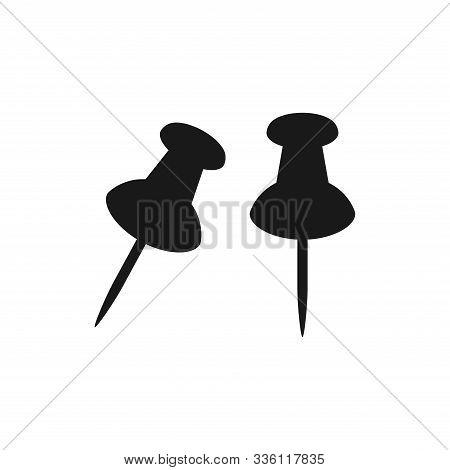 Pushpin Simple Black Vector Set. Drawing Or Push Pin Glyph Symbol.