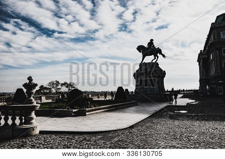 Budapest, Hungary - Nov 6, 2019: Horseman Statue Of Savoyai Eugen In The Courtyard Of The Buda Castl