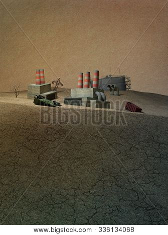 3d Illustration. Dying Industry. Old Factories, Oil Storages, Wagons Are Dying In The Sand. Post-apo