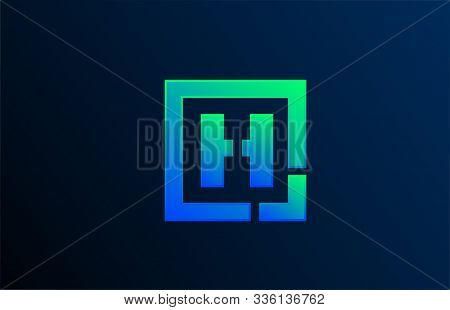 Blue Green Letter H Alphabet Logo Design Icon For Business. Suitable As A Logotype