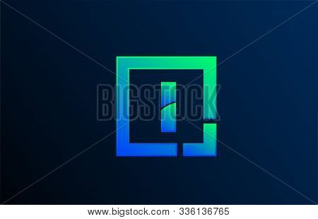 Blue Green Letter I Alphabet Logo Design Icon For Business. Suitable As A Logotype