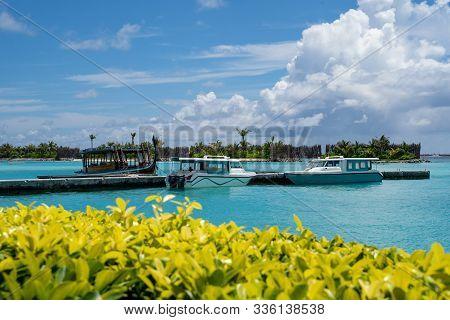 North Male Atoll, Maldives - November 23, 2019: Speedboats At A Dock At The Sheraton Maldives Full M