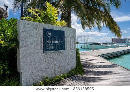North Male Atoll, Maldives - November 23, 2019: Sign For The Sheraton Maldives Full Moon Resort And