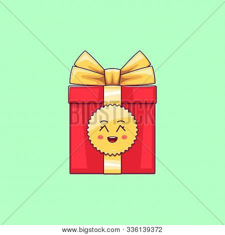 Cartoon Kawaii Gift Box With Grinning Face. Cute Red Gift With Golden Bowknot, Festive Character Wit