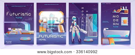 Futuristic Hotel Banners Set. Humanised Robot Cleaner Assistant In Home With Neon Glowing Furniture.
