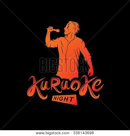 Nightlife Entertainment Concept, Karaoke Night Vector Inscription Composed With Stage Microphone And