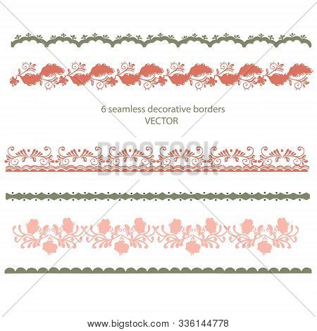 Vector seamless border with  floral, flowers in folk gzhel style. Hand drawn decor for greeting, chr
