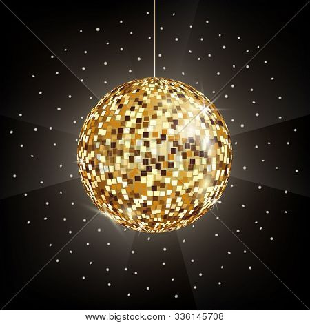 Vector Icon Of Golden Disco Or Mirror Ball On Black Background. Glitter Ball For Dance Party, Night