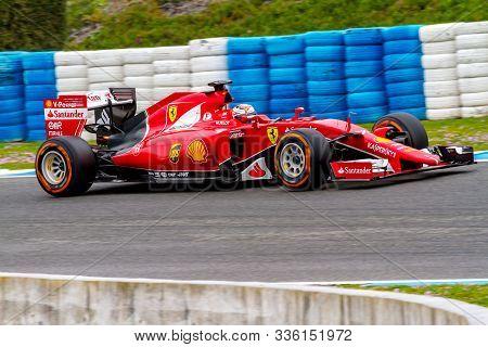 Jerez De La Frontera, Spain - Feb 03:  Kimi Raikkonen Of Scuderia Ferrari F1 Races  On Training Sess