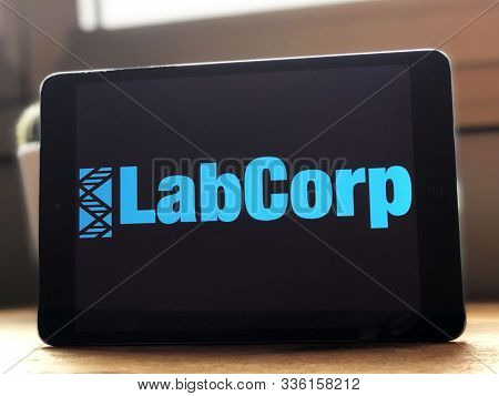 September 2019 Parma, Italy: Labcorp Company Logo Icon On Tablet Screen Close-up. Labcorp Visual Bra
