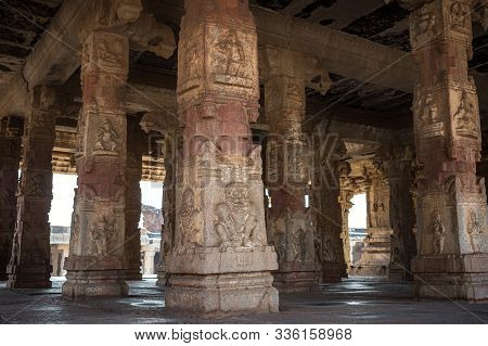 Carved Stone Columns In An Ancient Temple. Krishna Temple. The Group Of Monuments At Hampi Was The C