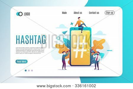 Big Smartphone With Hashtag Sign, Small People And Social Networks. Vector Illustration.colorful Fla