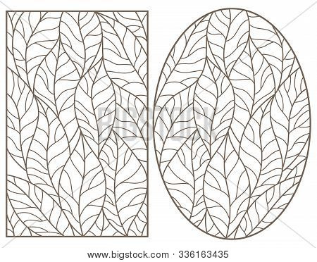 Set Of Outline Illustrations Of Stained Glass Windows With Leaves Of Trees, Dark Outlines On Light B