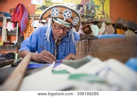 Nova Olinda, Ceara, Brazil - June 04, 2016: Espedito Seleiro, Famous Leather Craftsman Of Brazil, Pr