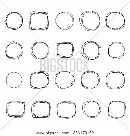 Hand Drawn Doodle Scetch. Circle Vector Round Scribble Line Set. Circles Frame For Message. Pencil O