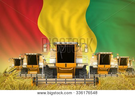 Industrial 3d Illustration Of A Lot Of Yellow Farming Combine Harvesters On Farm Field With Guinea F