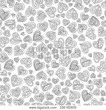 Seamless Pattern Of Black And White Contour Hearts For Page Of Coloring Book. Continuous Background