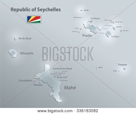 Seychelles Map With Names Of Seychelles Islands And Flag Seychelles, Design Glass Card 3d Vector