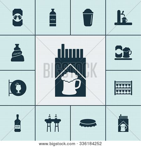 Alcohol Icons Set With Scotch, Cigarette, Ale Mug And Other Whisky Elements. Isolated Vector Illustr