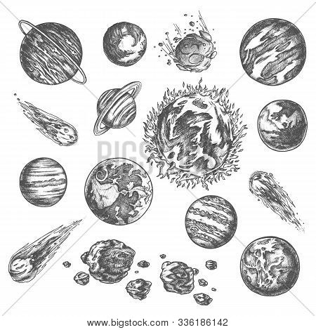 Solar System Planets In Universe Outer Space, Vector Pencil Sketch Icons. Solar System Planets Sun,