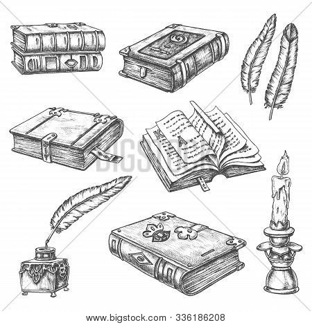Ancient Old Books, Vector Pencil Sketch Icons. Vintage Literature And Poetry Books With Medieval Orn