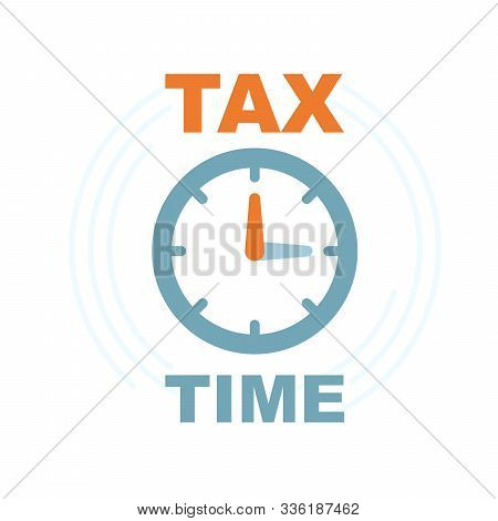 Time To Pay Tax - Icon Of Accounting Reminder With Clock, Taxes Payment Logo