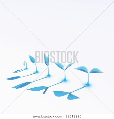 Blue Glass Growing Sprouts