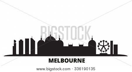 Australia, Melbourne City City Skyline Isolated Vector Illustration. Australia, Melbourne City Trave