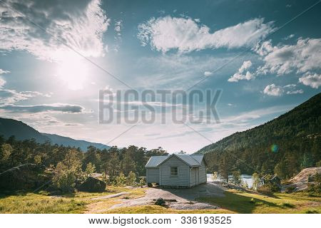 Kinsarvik, Hordaland, Norway. Small Wooden House In Hardangervidda Mountain Plateau. Famous Norwegia