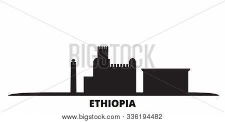 Ethiopia City Skyline Isolated Vector Illustration. Ethiopia Travel Black Cityscape