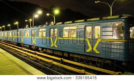 Kyiv / Ukraine. 28 September 2018:  Electric Train Leaving Station In Subway In Evening. Train Leavi