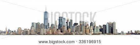 High Resolution Panoramic View Of Lower Manhattan From The Ellis Island - Isolated On White. Clippin