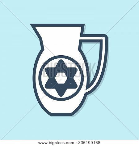 Blue Line Decanter With Star Of David Icon Isolated On Blue Background. Pottery Jug. Organic Product