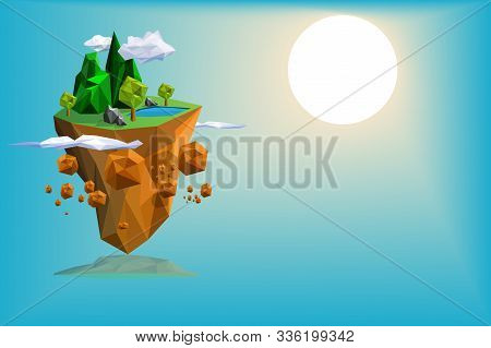 Island Low Poly Fantasy Scene Background Vector,mountain,tree,stone And Clouds Triangle Design,with