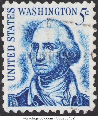 Saint Petersburg, Russia - November 25, 2019: Postage Stamp Printed In Usa With A Portrait Of George