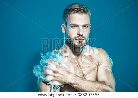 Showering. Bearded Man Washing In Bathroom. Man In Shower. Fit Man With Muscular Body Taking Shower