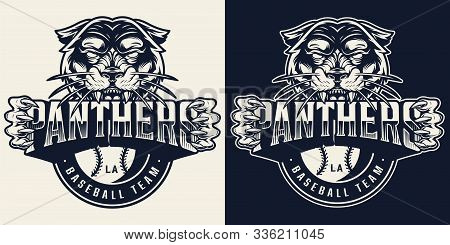 Baseball Team Vintage Monochrome Emblem With Aggressive Black Panther Holding Sport Club Name Inscri