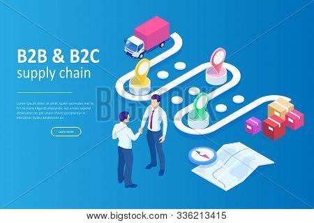 Isometric Business To Business Marketing, B2b Solution, Business Marketing Concept. Online Business,
