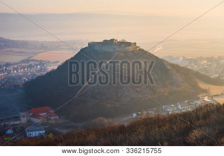 Ruin Of The Castle On The Hill At Sunrise. Schlossberg Castle In Hainburg An Der Donau, Austria At S