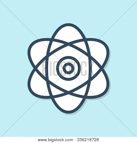 Blue Line Atom Icon Isolated On Blue Background. Symbol Of Science, Education, Nuclear Physics, Scie