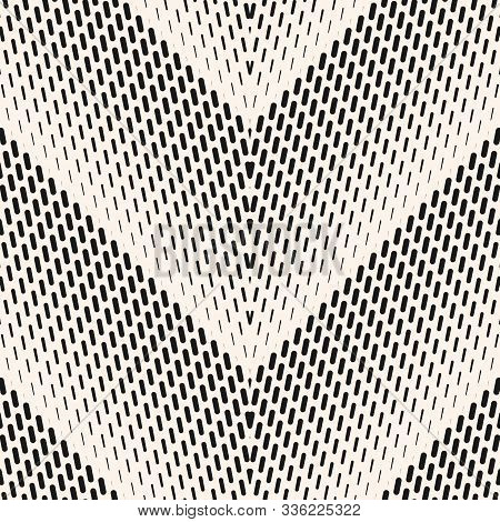 Vector Geometric Halftone Seamless Pattern With Small Lines, Fading Stripes, Zigzag, Chevron. Monoch