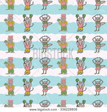Vector Cyan Stripes Vertical Anthropomorphic Characters Seamless Pattern Background