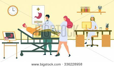 Digestive System Treatment. Cartoon Doctor Examining Man Abdomen On Patient Bed In Hospital Room Vec