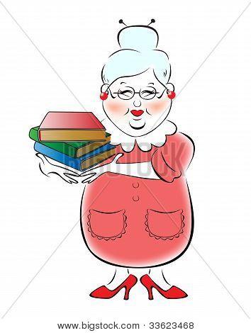 Illustration of female librarian