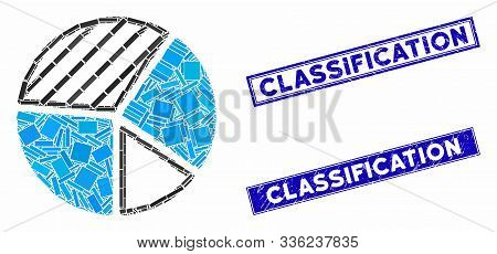 Mosaic Pie Chart Icon And Rectangular Classification Watermarks. Flat Vector Pie Chart Mosaic Icon O