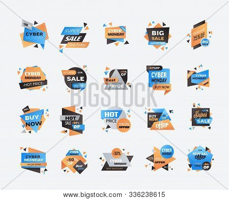 Set Cyber Monday Big Sale Stickers Collection Advertisement Special Offer Concept Holiday Online Sho