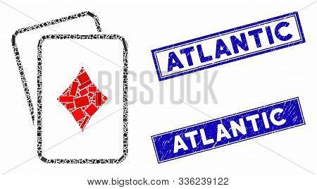 Mosaic Diamonds Gambling Cards Icon And Rectangular Atlantic Stamps. Flat Vector Diamonds Gambling C