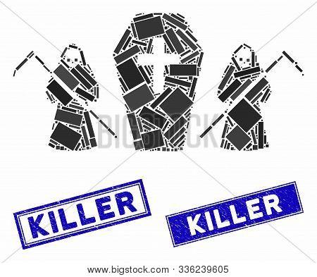 Mosaic Scytheman Coffin Guard Icon And Rectangle Killer Seals. Flat Vector Scytheman Coffin Guard Mo