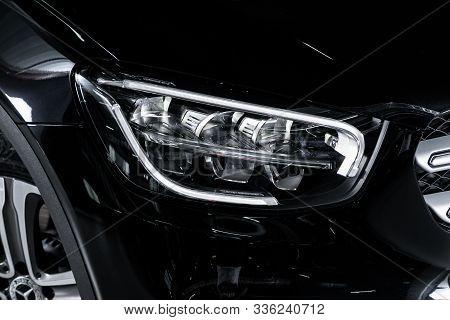 Novosibirsk, Russia - October 10, 2019:  Mercedes-benz Gls-class, Black Car Headlights. Exterior Det