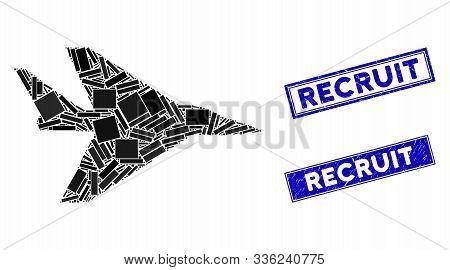 Mosaic Intercepter Plane Pictogram And Rectangle Recruit Seal Stamps. Flat Vector Intercepter Plane